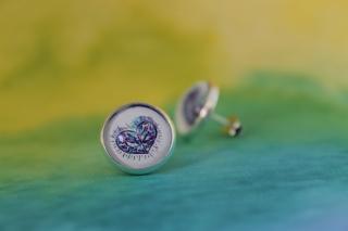 Ohrringe Diamond Heart im Watercolor Stil ♡ elegant Hochzeit Anlass Echtschmuck Ohrstecker Cabochon Trendy Style