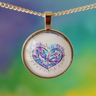 Kette Diamond Heart im Watercolor Stil ♡ elegant Hochzeit Anlass Echtschmuck Ohrstecker Cabochon Trendy Style (Kopie id: 100079100)