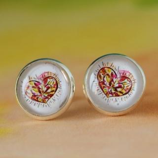 Ohrringe Diamond Heart im Watercolor Stil ♡ elegant Hochzeit Anlass Echtschmuck Ohrstecker Cabochon Trendy Style (Kopie id: 100079101)