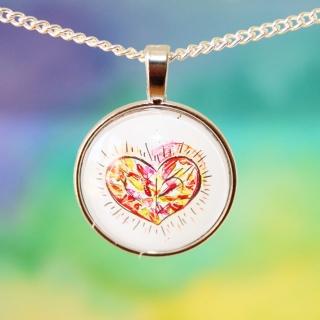 Kette Diamond Heart im Watercolor Stil ♡ elegant Hochzeit Anlass Echtschmuck Ohrstecker Cabochon Trendy Style