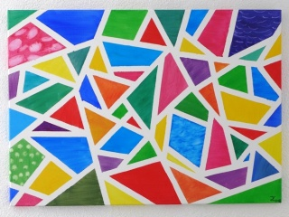 modernes abstraktes Acrylgemälde, Geometrie, Bunt, Gemälde