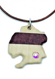 Handgefertigter Holzanhänger aus Amaranth und Ilex mit eingesetztem Strass, an einem Lederband, mit Bindering und  Karabinerverschluss aus 925 Sterling Silber