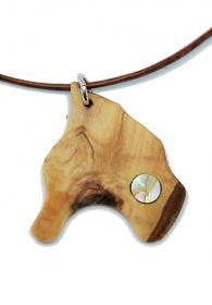 Handgefertigter Holzanhänger aus Olivenholz mit eingesetztem Perlmutt, an einem Lederband, mit Binderingen und einem Karabinerverschluss aus 925 Sterling Silber