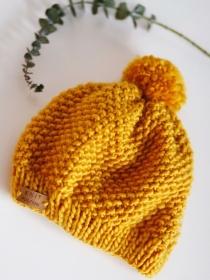 MÄUSEKÖNIG - süße, weiche Bommelmütze aus MERINO-Wolle für Babys und Kinder in der Trendfarbe  - Handarbeit kaufen