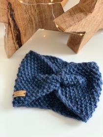 Cinderella- gestricktes Stirnband im kräftigen Blau - Handarbeit kaufen