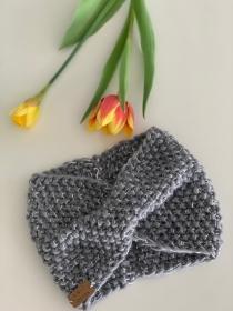 Schneekönigin - gestricktes Stirnband aus weicher Schafwolle mit Glitzergarn  - Handarbeit kaufen