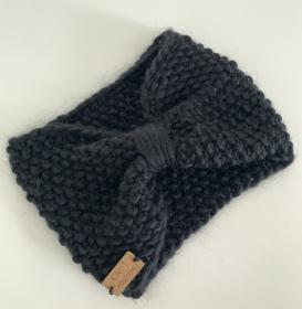 DORNRÖSCHEN- gestricktes Stirnband im Schleifen-Stil schwarz - Handarbeit kaufen