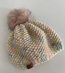 MÄUSEKÖNIG in PASTELL - weiche, warme Mütze mit Fakefur-Bommel  - Handarbeit kaufen
