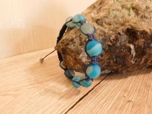 Shamballa Armband Schlangenachat blau