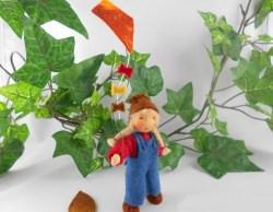 Drachenmädchen, klein ☆ Handgenähtes Blumenkind Dekofigur Jahreszeitentisch Herbst