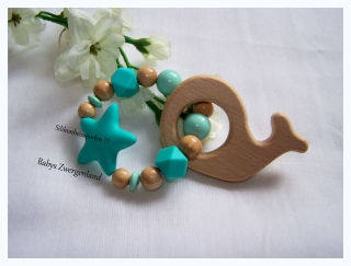♥ Greifling, Holzspielzeug Wal mit Wunschnamen ♥