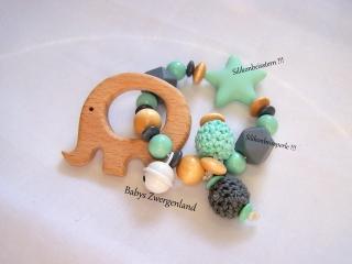 ♥ Greifling, Holzspielzeug Elefant mit Wunschnamen ♥