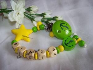 Schnullerkette mit Wunschnamen, Geschenk zu Geburt