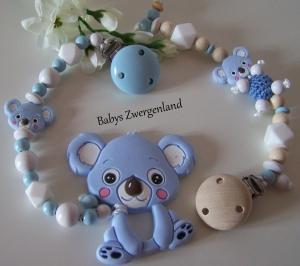 Set Schnullerkette +Beisskette, Geschenk zur Geburt, Taufe, Babypaty....
