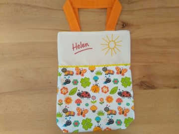 Kita-Tasche mit Namen, Kindergarten Beutel Frühlingswiese