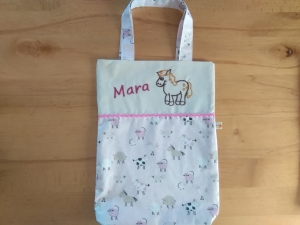 Kita-Tasche, Kindergarten Beutel mit Namen, Bauernhof Tiere rosa - Handarbeit kaufen