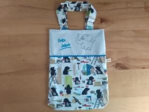 Kita-Tasche mit Namen,  Motiv fleißige Maulwürfe, Wechselwäsche Beutel mit Namen