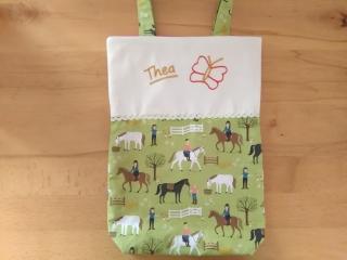Kita-Tasche mit Namen, Kindergarten Beutel, auf dem Reiterhof  - Handarbeit kaufen