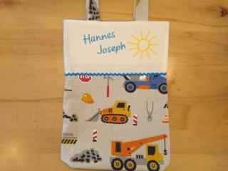 Kita-Tasche mit Namen, Kindergarten Beutel, auf der Baustelle