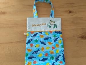 Kita-Tasche mit Namen, Kindergarten Beutel ,   Haie und Fische
