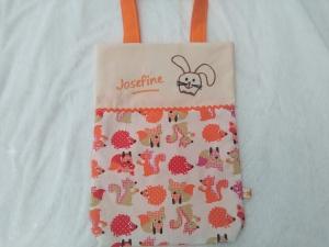 Kita-Tasche mit Namen, Kindergarten Beutel   Tiere des Waldes