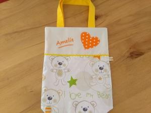 Kita-Tasche mit Namen, Kindergarten Beutel,  mein kleiner Bär