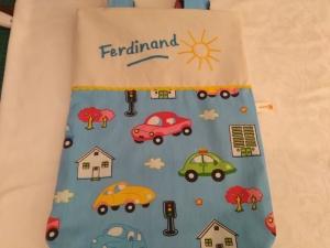 Kita-Tasche mit Namen, Kindergarten Beutel  fröhliche Autos