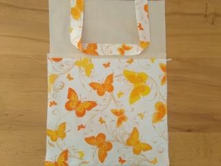 Kita-Tasche mit Namen, Kindergarten Beutel, Schmetterlinge gelb