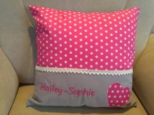 Namenskissen Sterne in pink,   Individueller Kissen Bezug für Kinder, Handmade  - Handarbeit kaufen