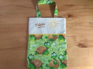 Kita-Tasche mit Namen, Kindergarten Beutel,   lustige Schildkröten