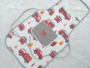 Kochschürze, Backschürze personalisiert, Feuerwehrauto  - Handarbeit kaufen