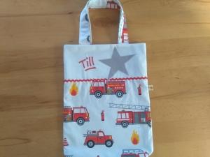 Kita-Tasche mit Namen, Kindergarten Beutel,   Feuerwehr Auto