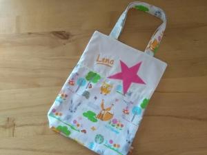 Kita-Tasche mit Namen, Kindergarten Beutel  , Hase, Fuchs und Mäuschen - Handarbeit kaufen