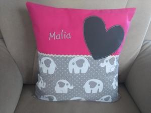 Namenskissen,   Elefanten mit pink,   individueller Kissen Bezug personalisiert           - Handarbeit kaufen