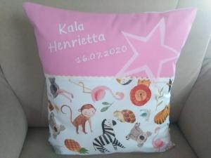Namenskissen,   Tiere Afrikas,   individueller Kissen Bezug personalisiert             - Handarbeit kaufen