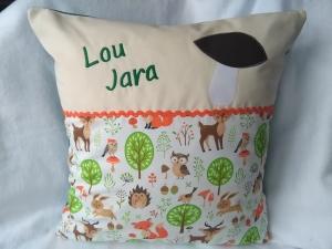 Namenskissen  Waldtiere,   Individueller Kissen Bezug für Kinder, Handmade     - Handarbeit kaufen