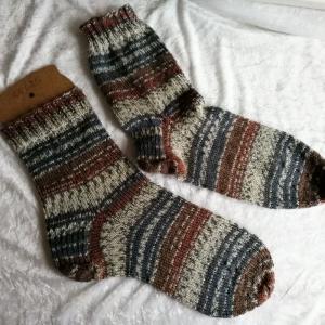 Herren Socken handgestrickt, Papa Socken Größe 44/45   - Handarbeit kaufen