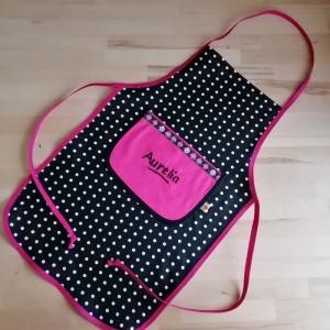 Kochschürze, Backschürze für Kinder, personalisiert,  schwarze Punkte
