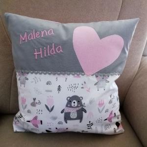Namenskissen  Waldtiere rosa ,   Individueller Kissen Bezug für Kinder, Handgefertigt