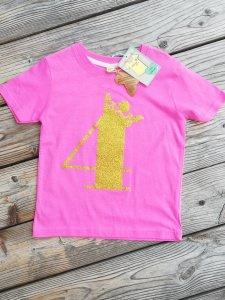 Geburtstagsshirt 4♡Shirt vierter Geburtstag♡Geburtstagsshirt Mädchen mit Zahl und Krönchen☆Größe und Farbe individualisierbar☆1 bis 5 Jahre☆Bio☆Shirt mit Zahl♡Name möglich