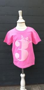 Geburtstagsshirt 3♡Shirt dritter Geburtstag♡Geburtstagsshirt Mädchen mit Zahl und Krönchen☆Größe und Farbe individualisierbar☆Name möglich♡1 bis 5 Jahre☆Bio☆Shirt mit Zahl   - Handarbeit kaufen