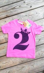 Geburtstagsshirt 2♡Shirt zweiter Geburtstag♡Geburtstagsshirt Mädchen mit Zahl und Krönchen☆Größe und Farbe individualisierbar☆Zahl 1-5♡Name möglich - Handarbeit kaufen