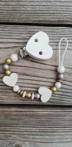 Schnullerkette aus Holz mit Herzen♥silber gold weiß♥Schnullerband♥Mädchen - Handarbeit kaufen