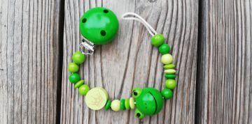 Schnullerkette Frosch aus Holz ♥Holzperlen grün♥Schnullerband♥Froschkönig♥Frosch♥♀♂