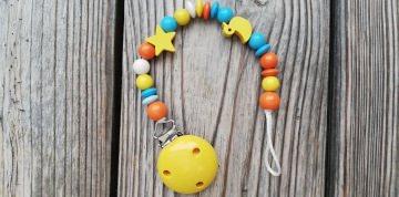 Schnullerkette Ente aus Holz ♥Holzperlen türkis gelb orange♥Schnullerband♥Baby♥Entchen♥♀♂ - Handarbeit kaufen