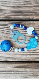Schnullerkette Polizei aus Holz ♥Holzperlen blau♥Polizeiauto♥Auto♥Schnullerband♥Jungen - Handarbeit kaufen