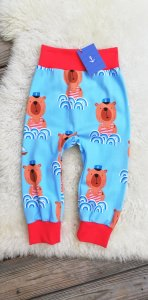 Baby Hose Seebär♥maritime Pumphose aus Jersey Größe 62/68♥handgenähte Hose hellblau für Babys