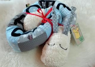 Lagerungskissen Schnecki für Babys♥Bettrolle Bettschlange Bettschnecke♥Name möglich♥blau Farbe/Muster individualisierbar