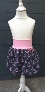 Ballonrock Anker maritim Gr. 110/116♡handgenähter Rock für Mädchen rosa blau mit Glitzer♡bequem und chic