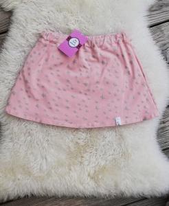 Handgenähter Rock Gr. 128 für Mädchen♡rose mit silbernen Sternen♡bequem und chic♡Gitzersterne♡Dehnbund